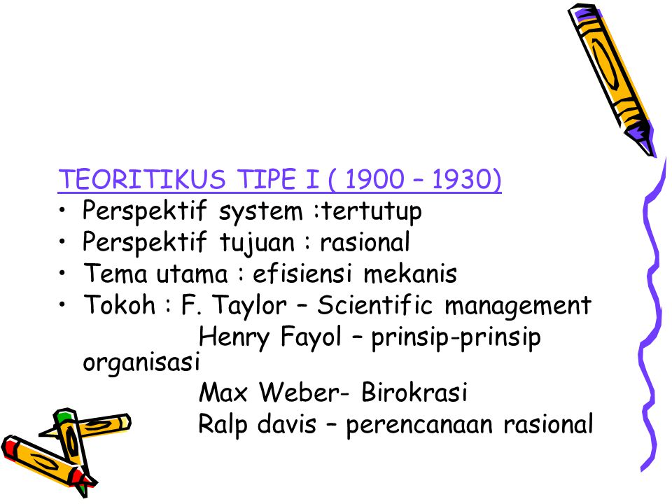 TEORITIKUS TIPE I ( 1900 – 1930) Perspektif system :tertutup. Perspektif tujuan : rasional. Tema utama : efisiensi mekanis.