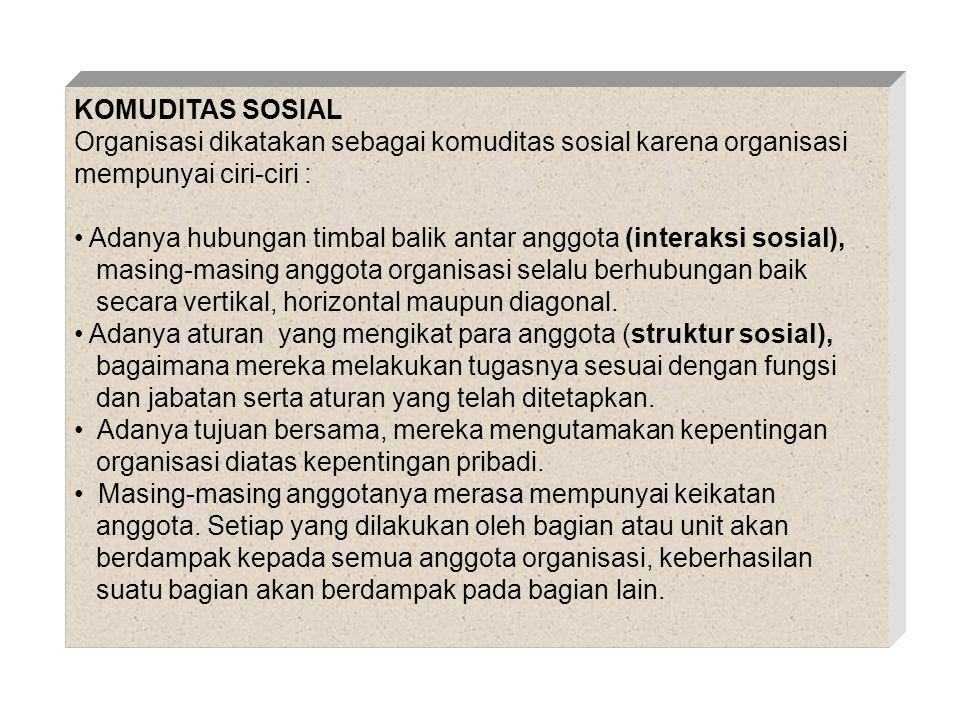 KOMUDITAS SOSIAL Organisasi dikatakan sebagai komuditas sosial karena organisasi mempunyai ciri-ciri :