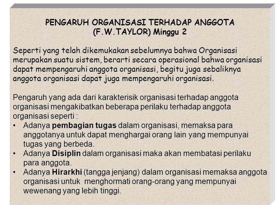 PENGARUH ORGANISASI TERHADAP ANGGOTA