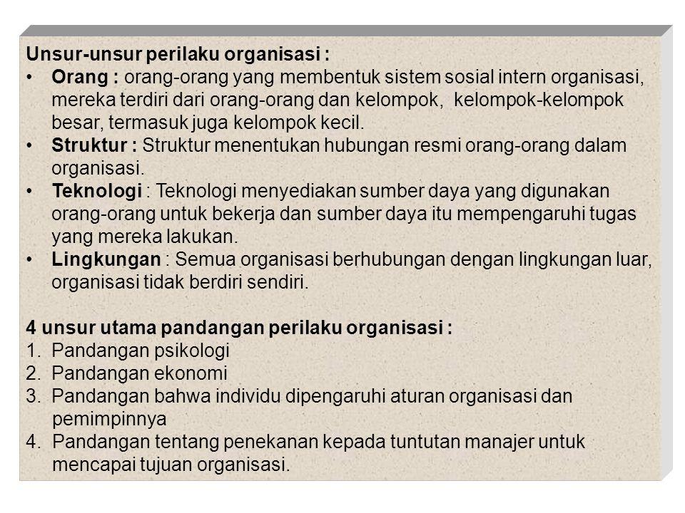 Unsur-unsur perilaku organisasi :
