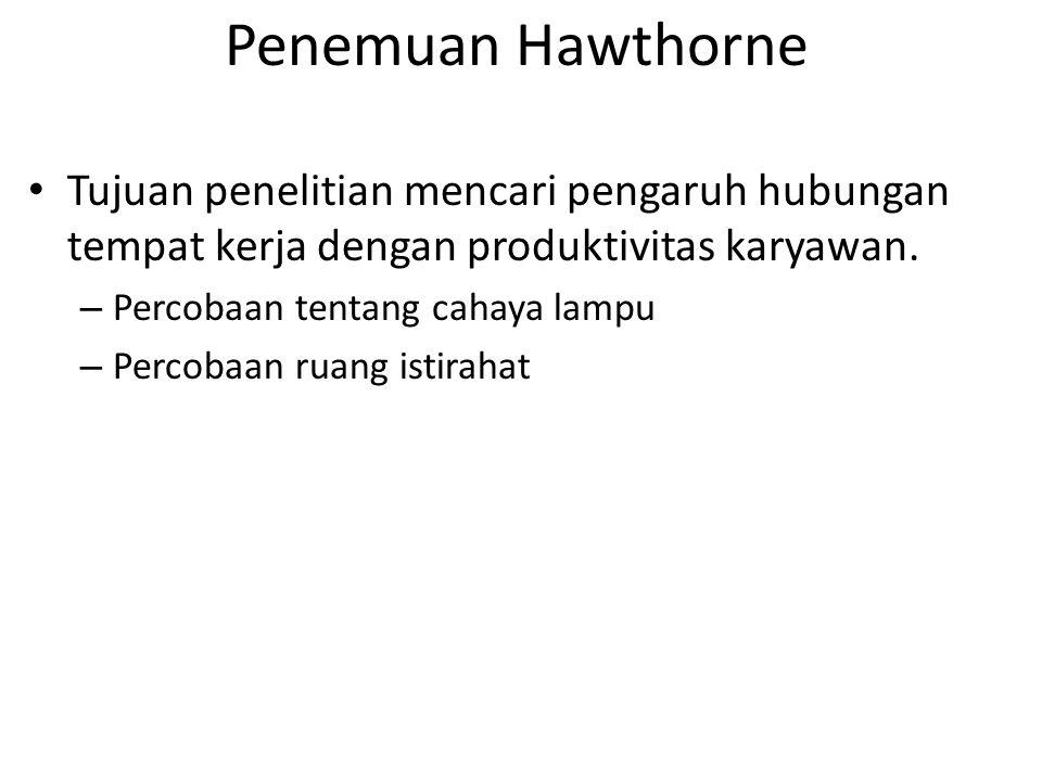 Penemuan Hawthorne Tujuan penelitian mencari pengaruh hubungan tempat kerja dengan produktivitas karyawan.