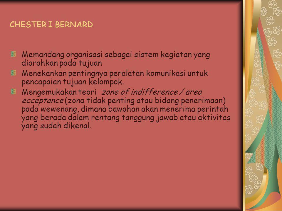 CHESTER I BERNARD Memandang organisasi sebagai sistem kegiatan yang diarahkan pada tujuan.