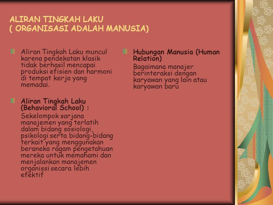 ALIRAN TINGKAH LAKU ( ORGANISASI ADALAH MANUSIA)