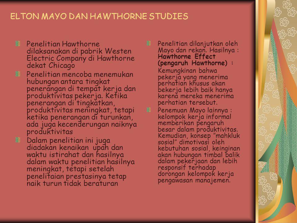 ELTON MAYO DAN HAWTHORNE STUDIES