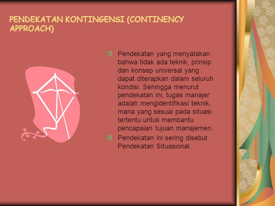 PENDEKATAN KONTINGENSI (CONTINENCY APPROACH)