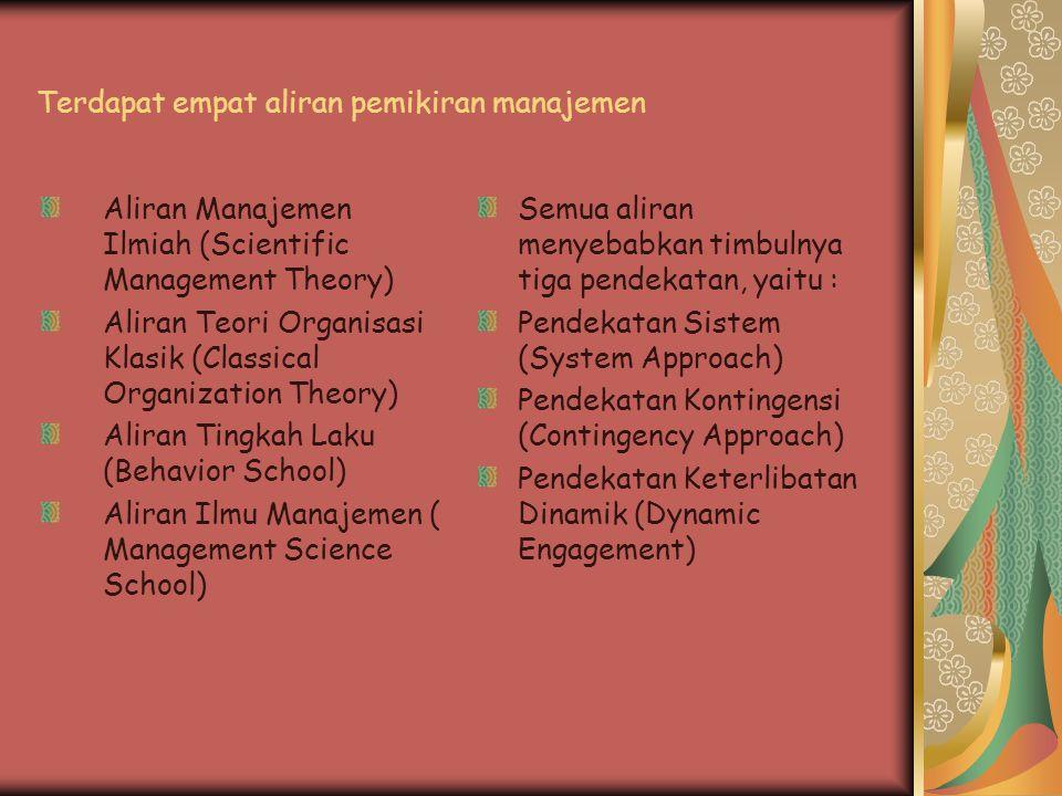 Terdapat empat aliran pemikiran manajemen