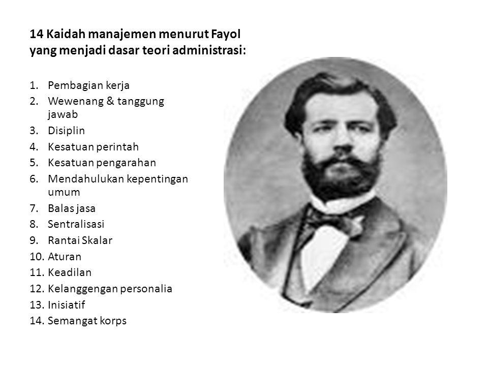 14 Kaidah manajemen menurut Fayol yang menjadi dasar teori administrasi: