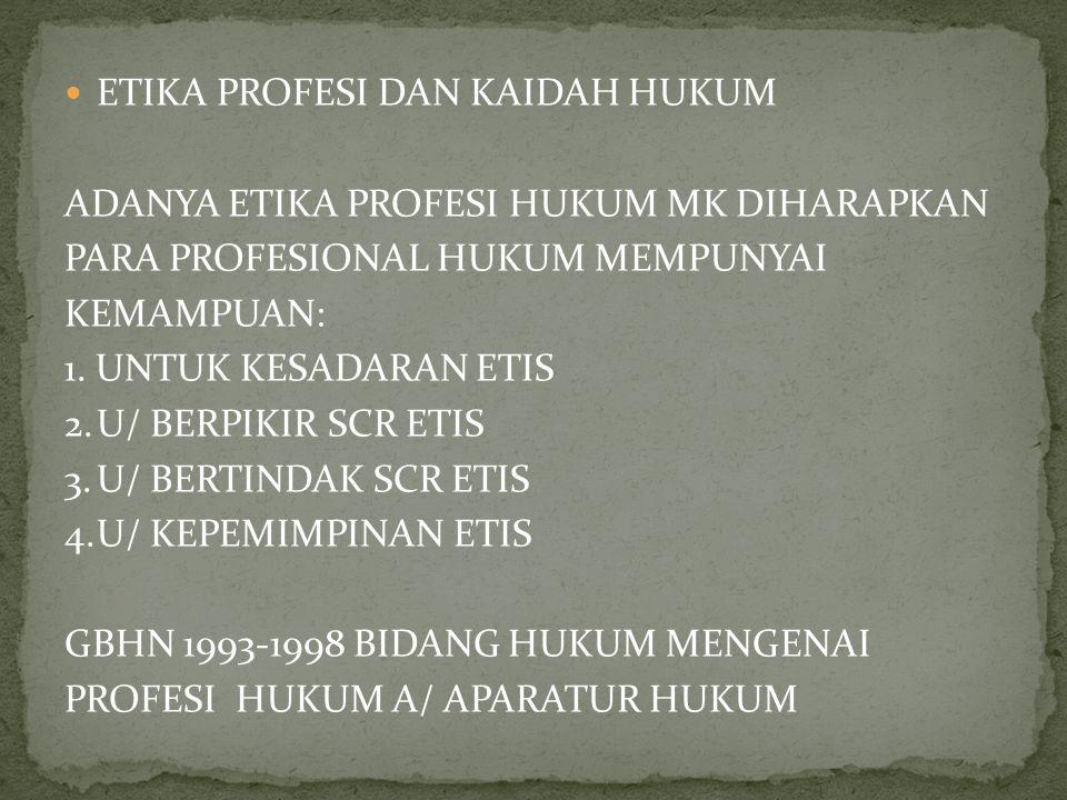ETIKA PROFESI DAN KAIDAH HUKUM