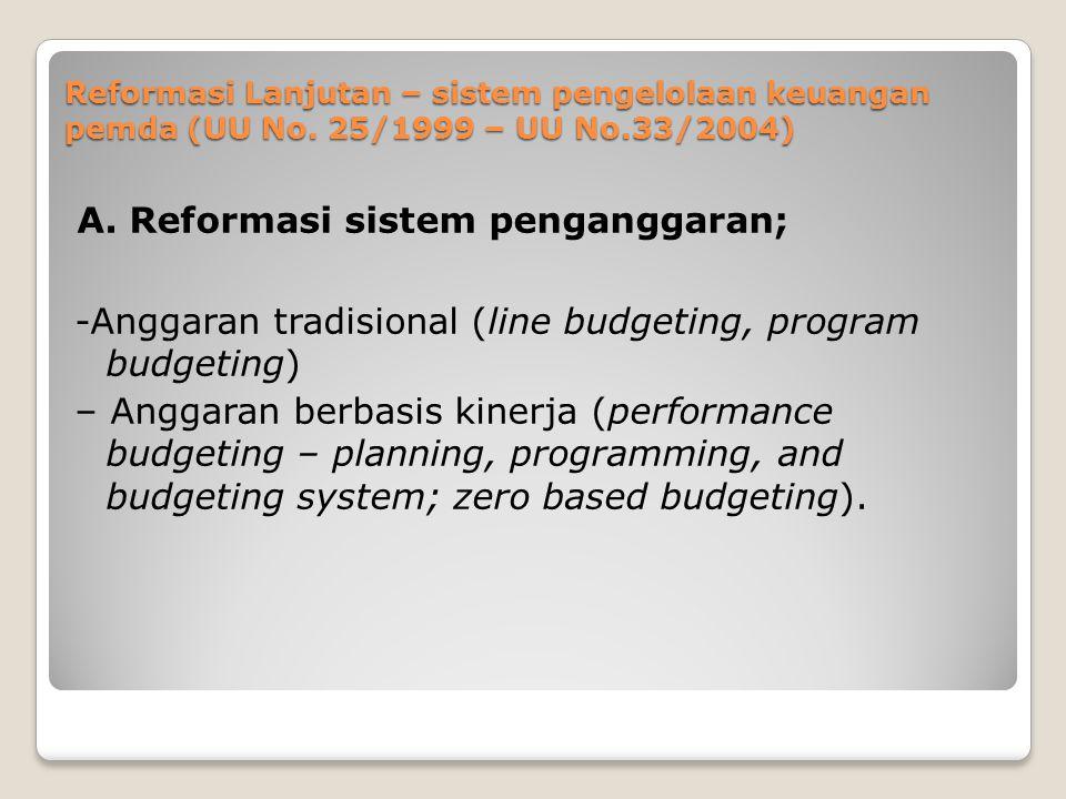 A. Reformasi sistem penganggaran;