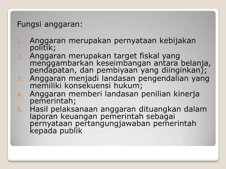 Fungsi anggaran: Anggaran merupakan pernyataan kebijakan politik;