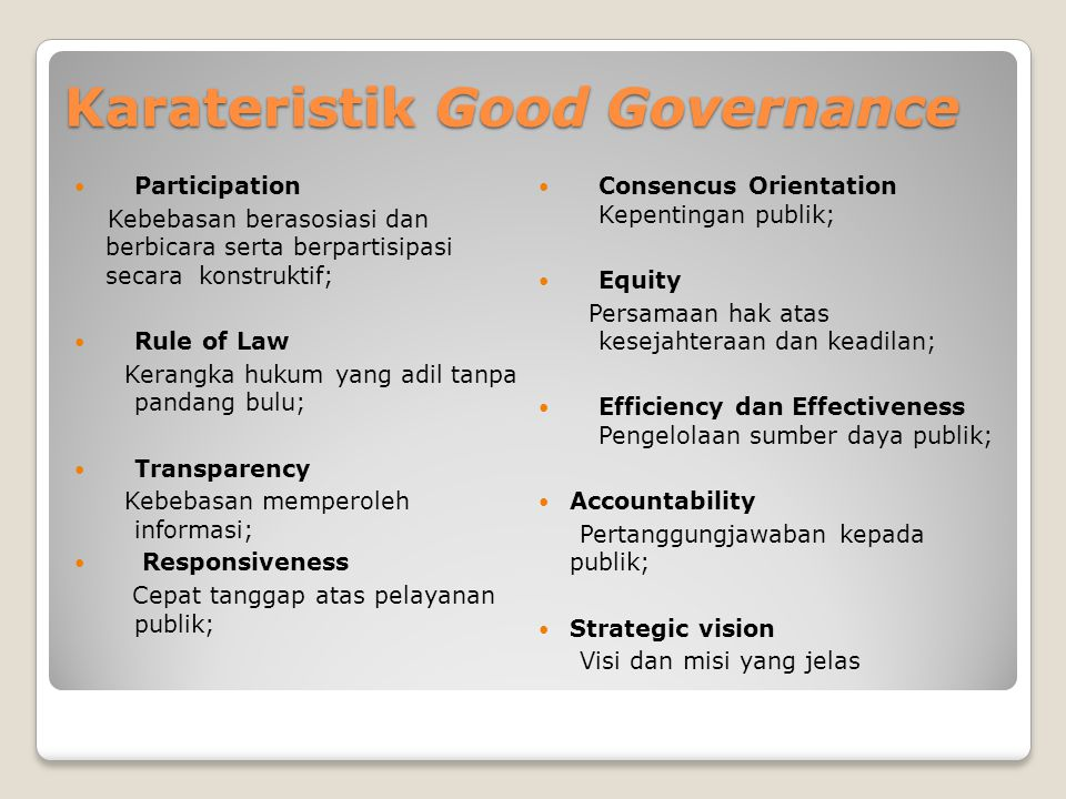 Karateristik Good Governance