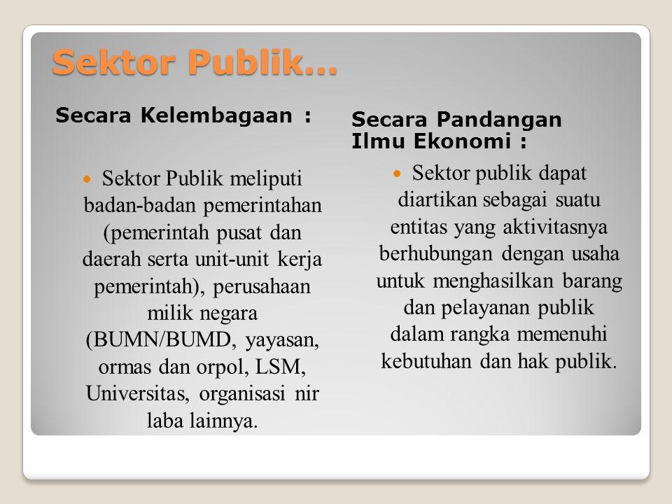Sektor Publik… Secara Kelembagaan : Secara Pandangan Ilmu Ekonomi :