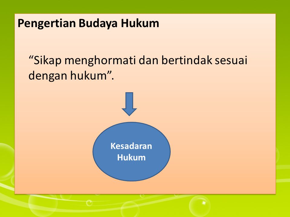 Pengertian Budaya Hukum Sikap menghormati dan bertindak sesuai dengan hukum .