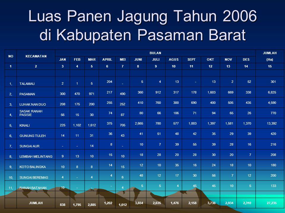 Luas Panen Jagung Tahun 2006 di Kabupaten Pasaman Barat