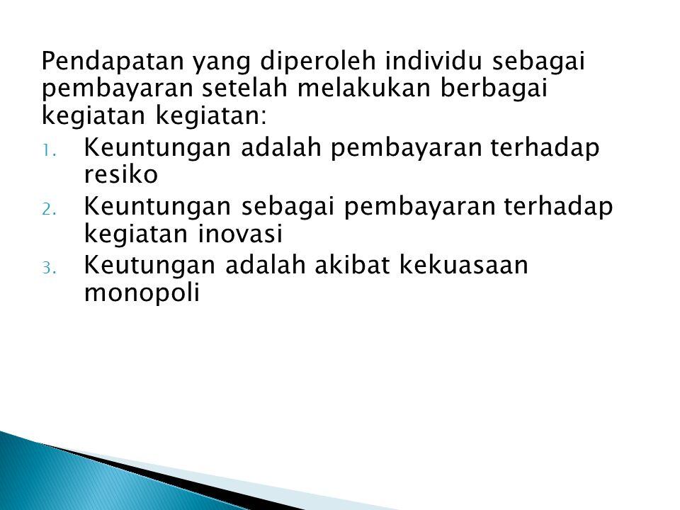 Pendapatan yang diperoleh individu sebagai pembayaran setelah melakukan berbagai kegiatan kegiatan: