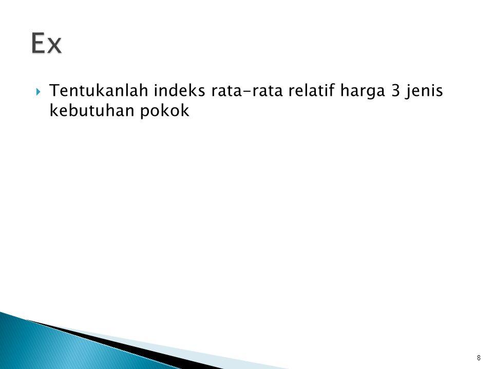 Ex Tentukanlah indeks rata-rata relatif harga 3 jenis kebutuhan pokok