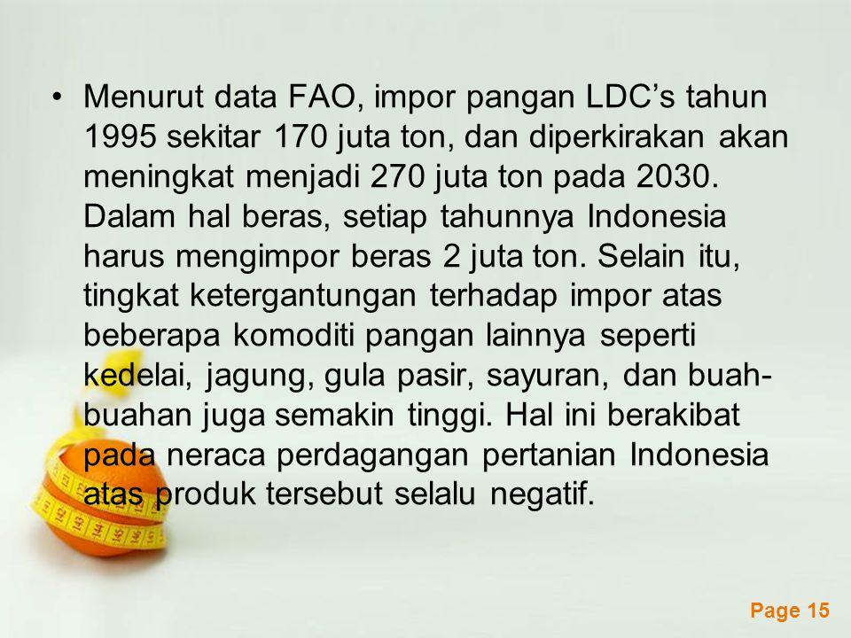 Menurut data FAO, impor pangan LDC's tahun 1995 sekitar 170 juta ton, dan diperkirakan akan meningkat menjadi 270 juta ton pada 2030.