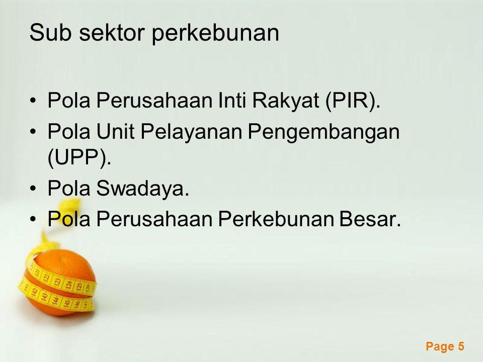 Sub sektor perkebunan Pola Perusahaan Inti Rakyat (PIR).