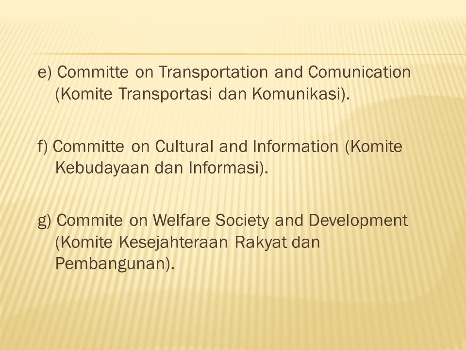 e) Committe on Transportation and Comunication (Komite Transportasi dan Komunikasi).