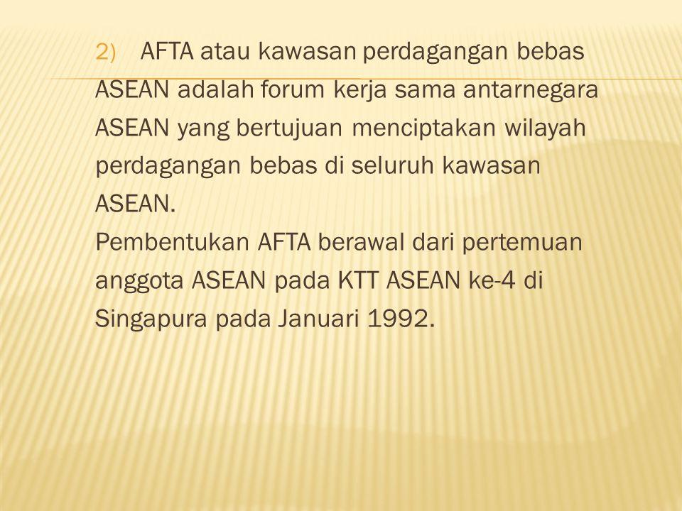 AFTA atau kawasan perdagangan bebas