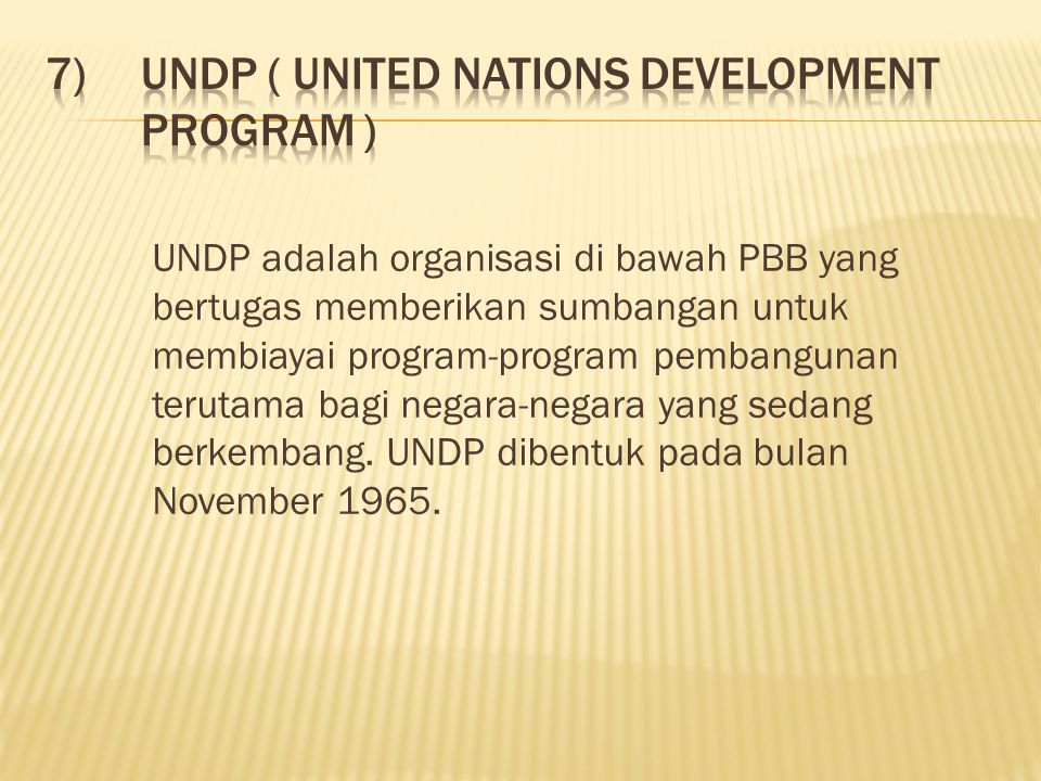 UNDP ( United Nations Development Program )