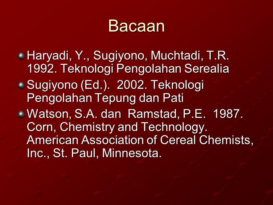 Bacaan Haryadi, Y., Sugiyono, Muchtadi, T.R. 1992. Teknologi Pengolahan Serealia. Sugiyono (Ed.). 2002. Teknologi Pengolahan Tepung dan Pati.