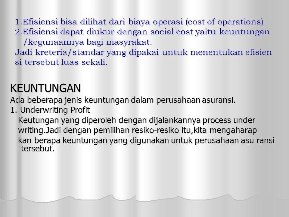 1. Efisiensi bisa dilihat dari biaya operasi (cost of operations) 2