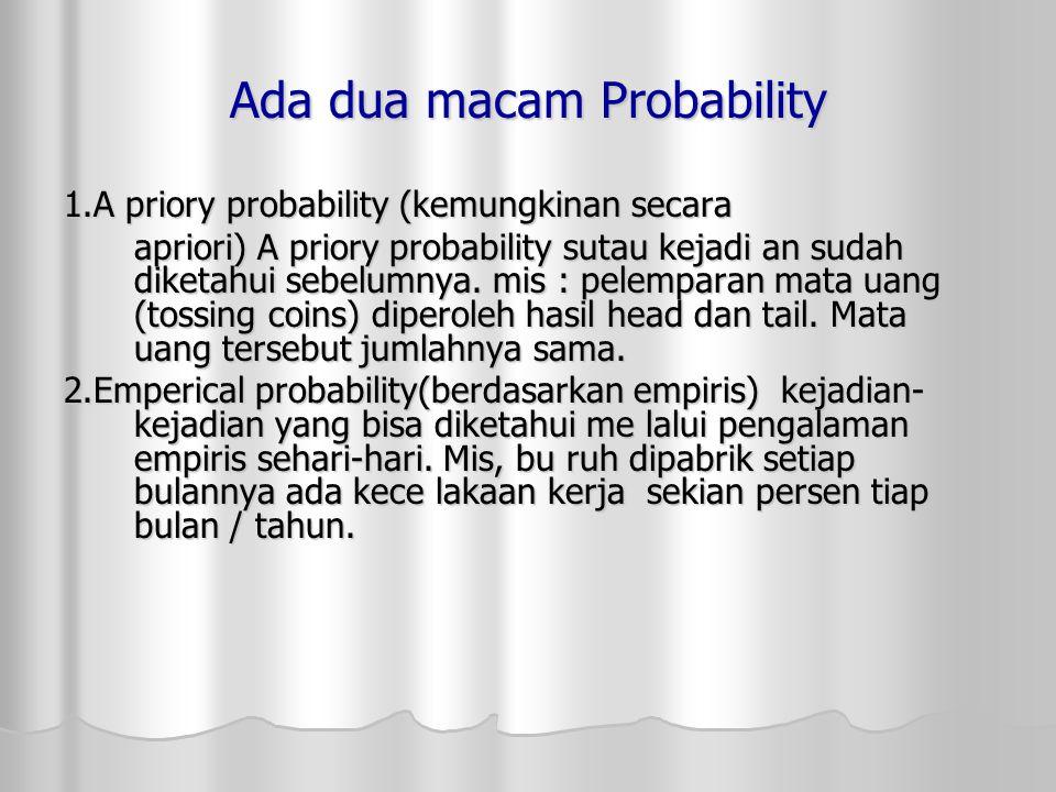 Ada dua macam Probability