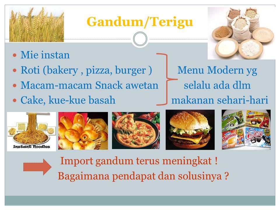 Gandum/Terigu Mie instan Roti (bakery , pizza, burger ) Menu Modern yg