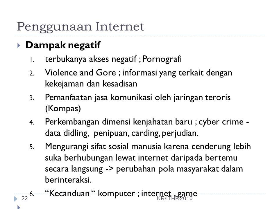 Penggunaan Internet Dampak negatif