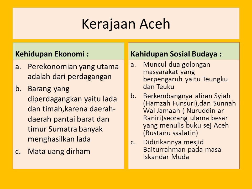 Kerajaan Aceh Kehidupan Ekonomi : Kahidupan Sosial Budaya :