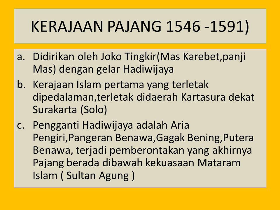 KERAJAAN PAJANG 1546 -1591) Didirikan oleh Joko Tingkir(Mas Karebet,panji Mas) dengan gelar Hadiwijaya.