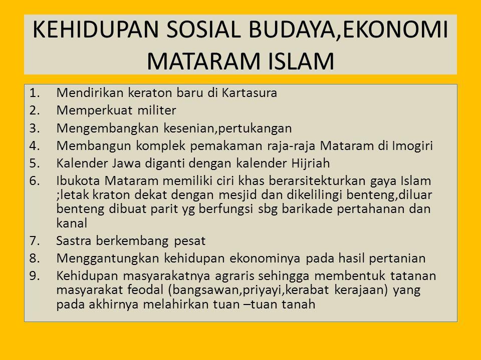 KEHIDUPAN SOSIAL BUDAYA,EKONOMI MATARAM ISLAM