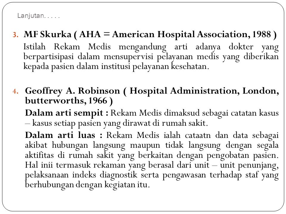 MF Skurka ( AHA = American Hospital Association, 1988 )