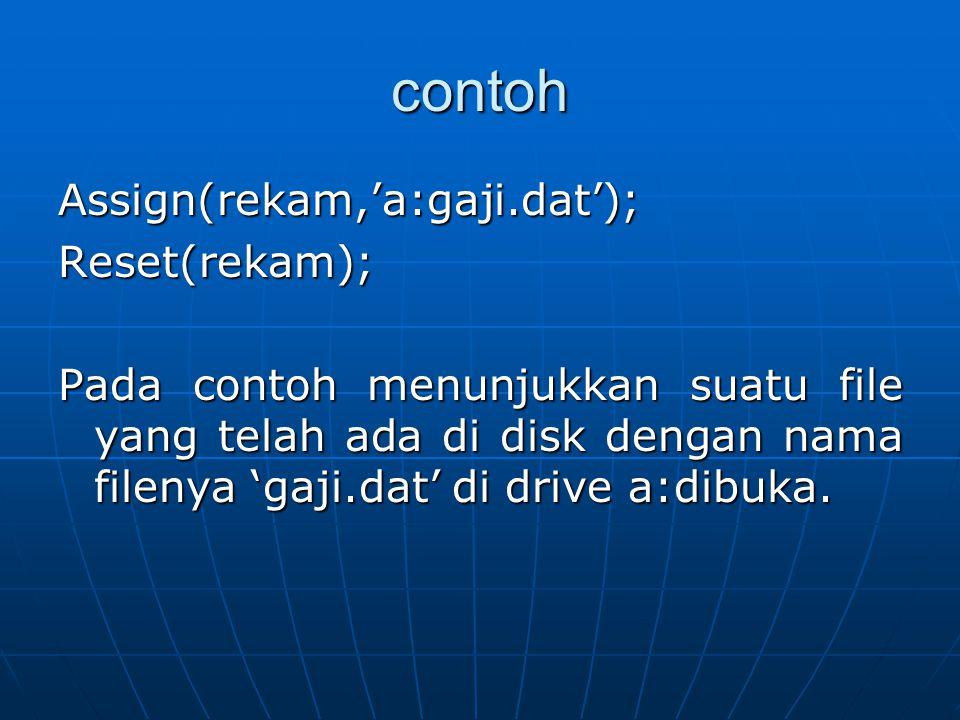 contoh Assign(rekam,'a:gaji.dat'); Reset(rekam);