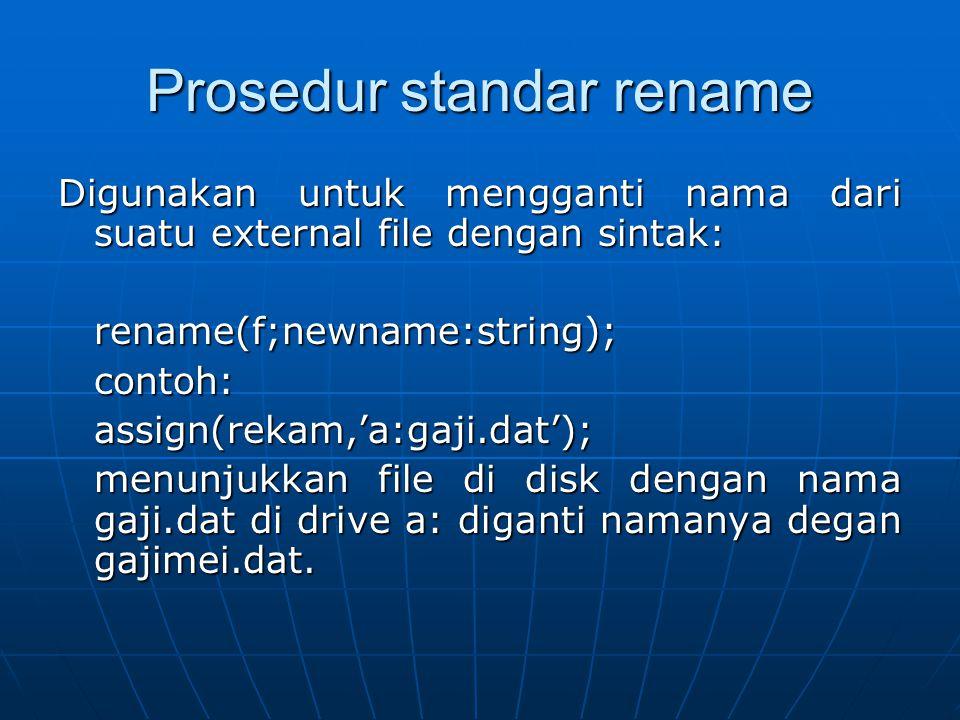 Prosedur standar rename