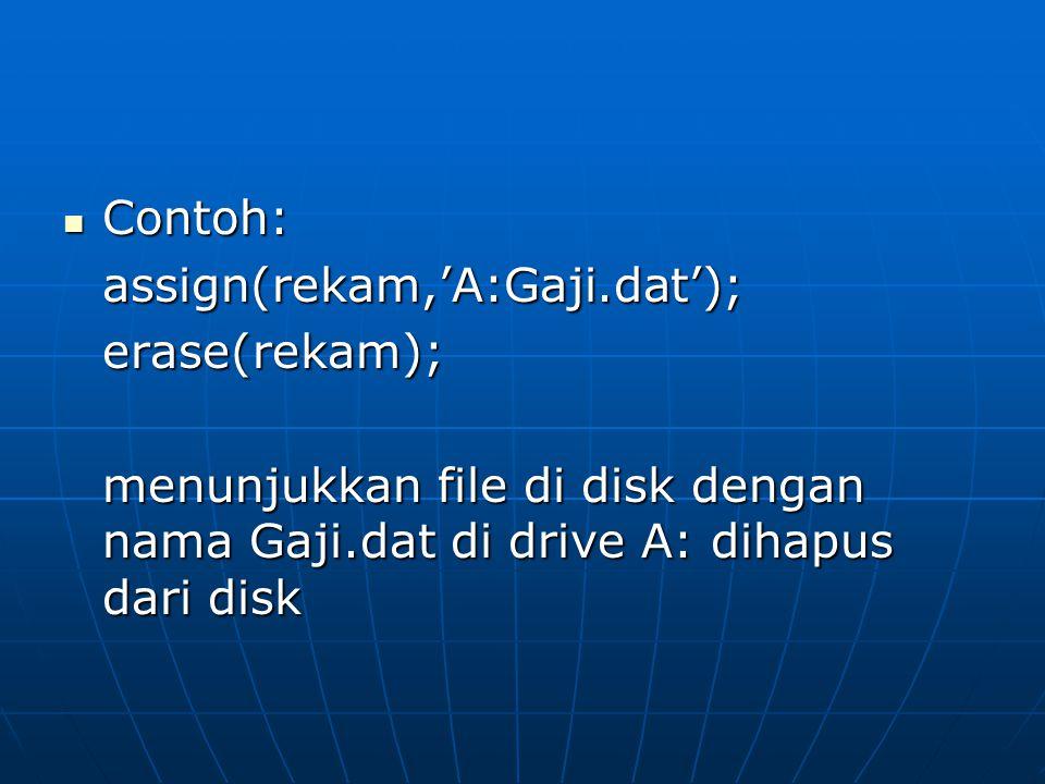 Contoh: assign(rekam,'A:Gaji.dat'); erase(rekam); menunjukkan file di disk dengan nama Gaji.dat di drive A: dihapus dari disk.