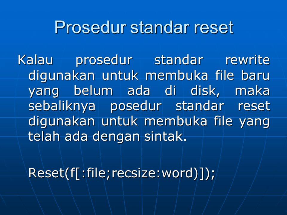 Prosedur standar reset