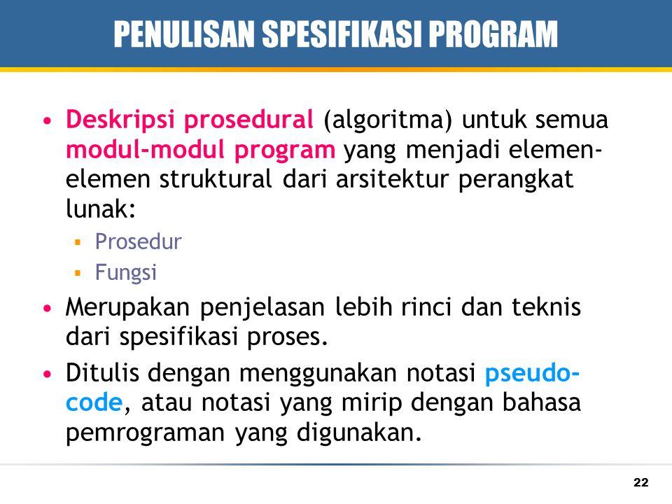 PENULISAN SPESIFIKASI PROGRAM