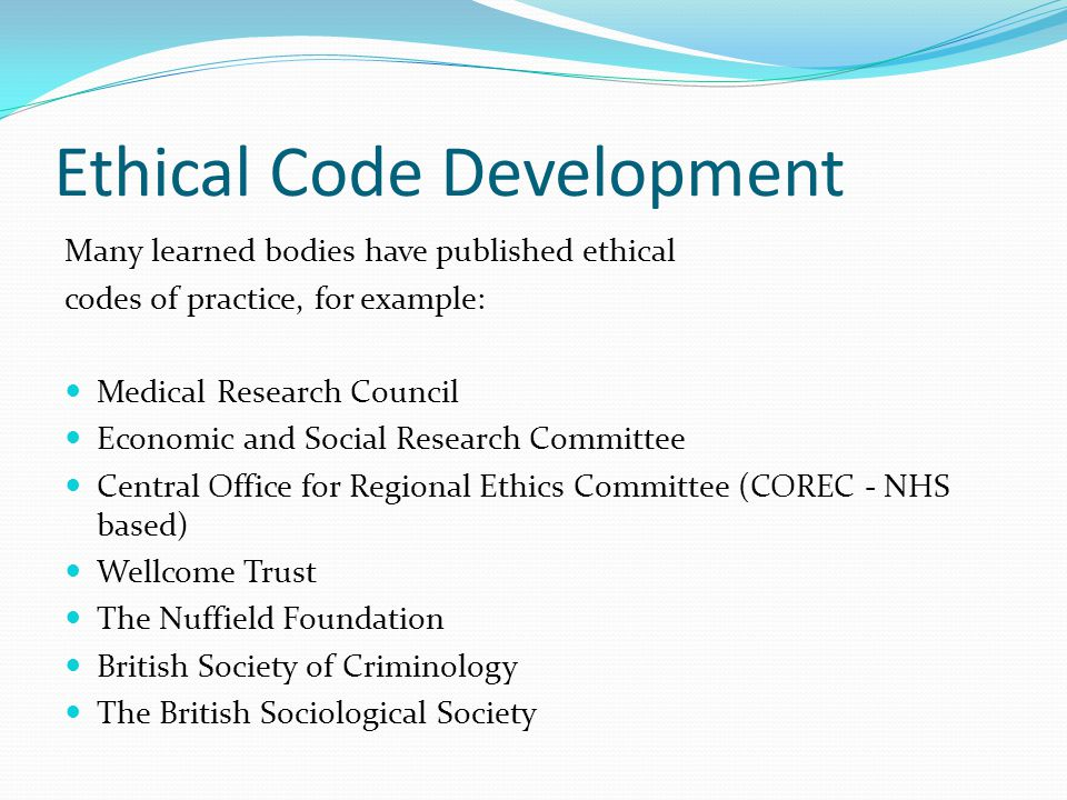 Ethical Code Development