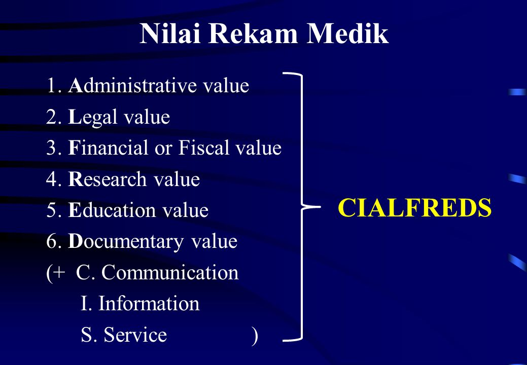 Nilai Rekam Medik CIALFREDS 1. Administrative value 2. Legal value