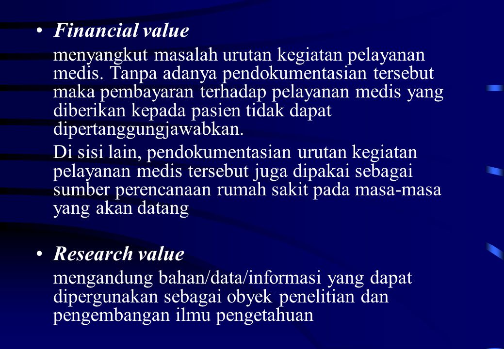 Financial value Research value