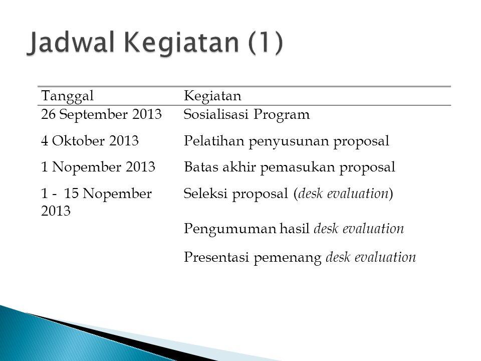 Jadwal Kegiatan (1) Tanggal Kegiatan 26 September 2013