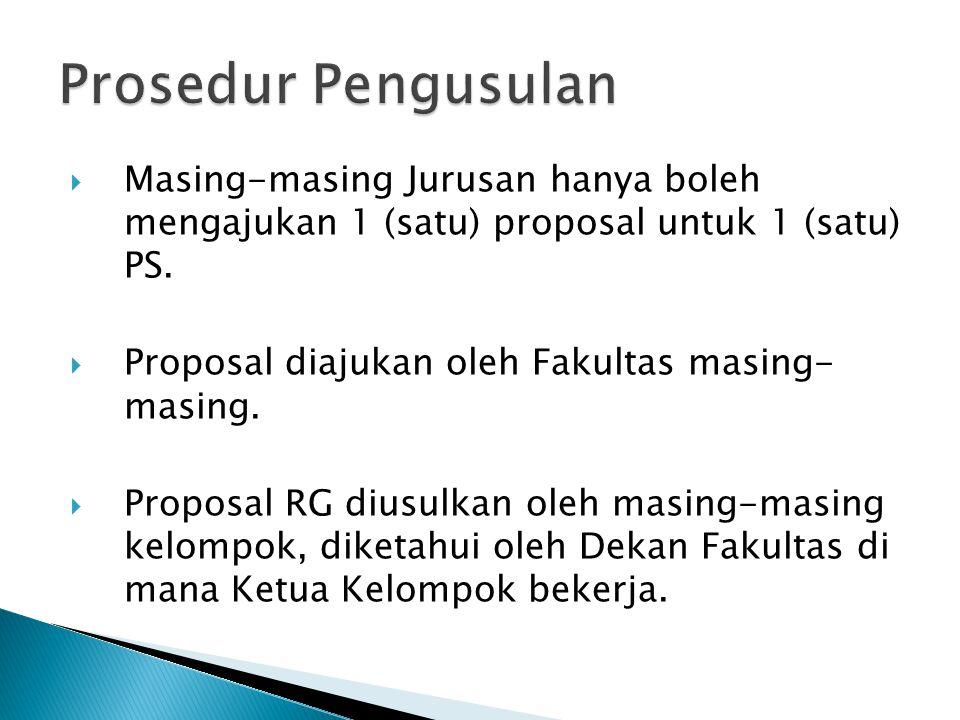 Prosedur Pengusulan Masing-masing Jurusan hanya boleh mengajukan 1 (satu) proposal untuk 1 (satu) PS.
