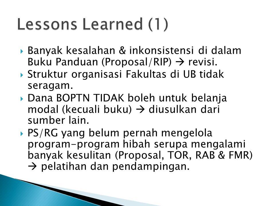 Lessons Learned (1) Banyak kesalahan & inkonsistensi di dalam Buku Panduan (Proposal/RIP)  revisi.