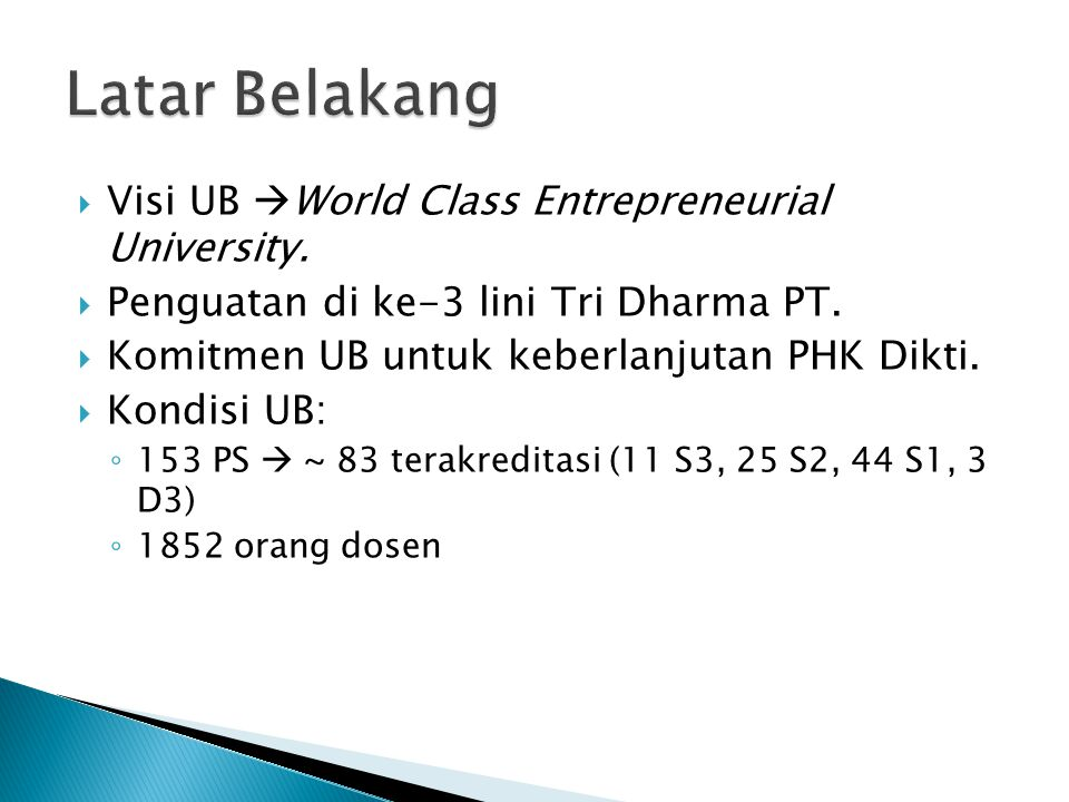 Latar Belakang Visi UB World Class Entrepreneurial University.