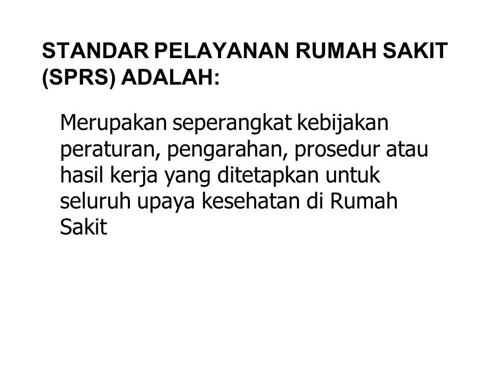 STANDAR PELAYANAN RUMAH SAKIT (SPRS) ADALAH:
