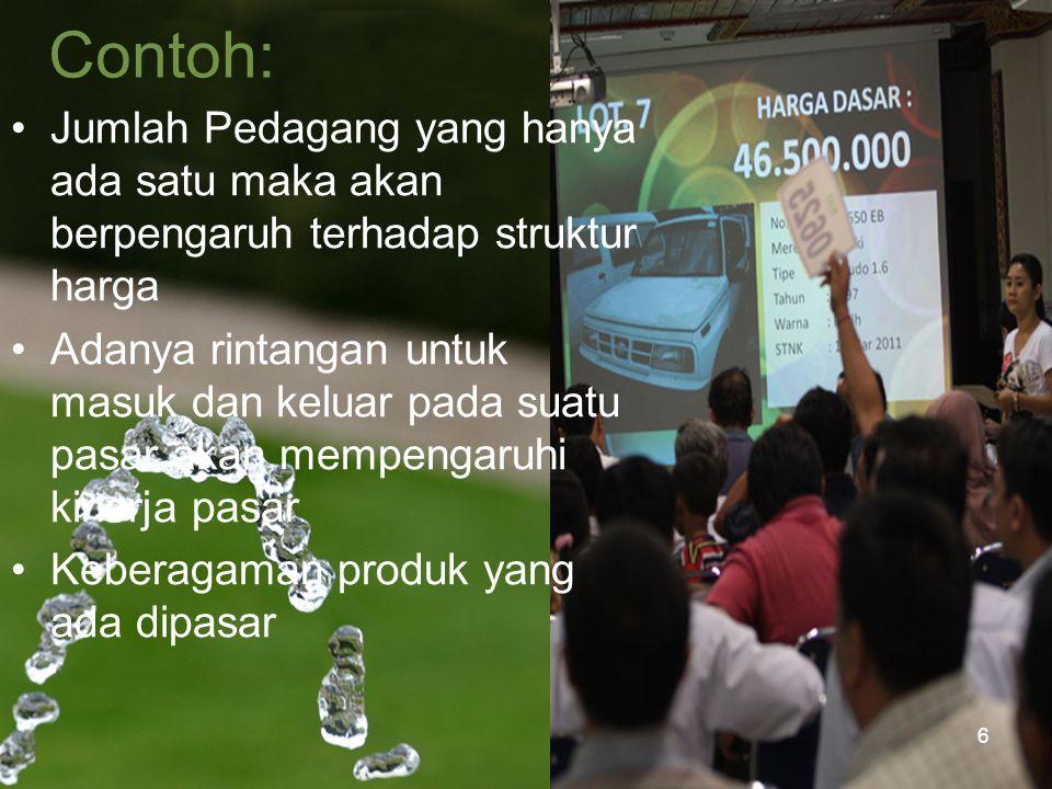 Contoh: Jumlah Pedagang yang hanya ada satu maka akan berpengaruh terhadap struktur harga.