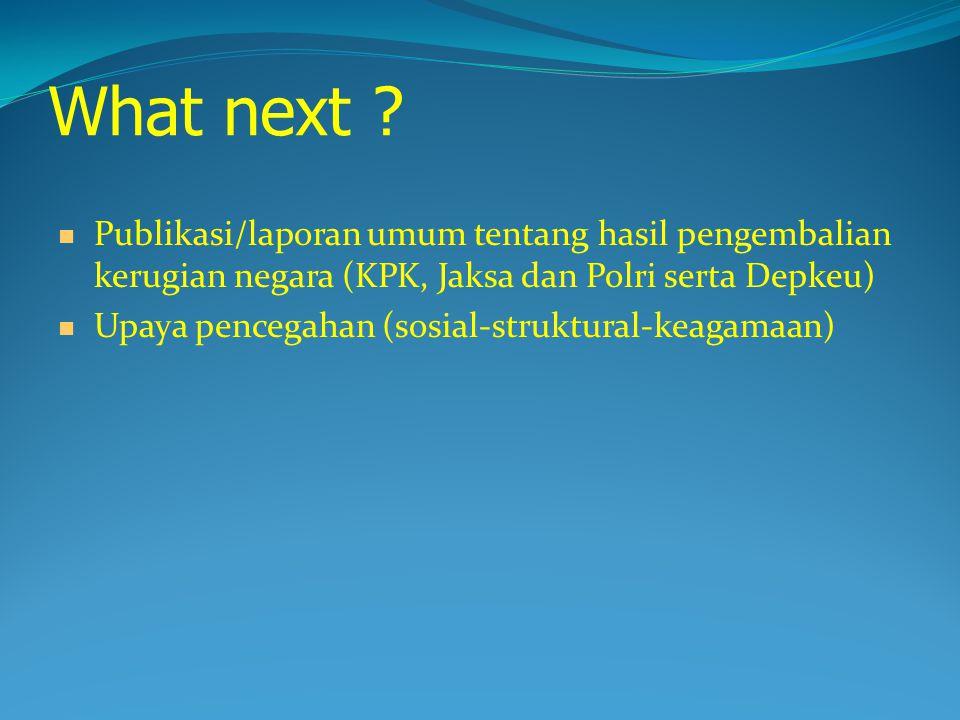 What next Publikasi/laporan umum tentang hasil pengembalian kerugian negara (KPK, Jaksa dan Polri serta Depkeu)