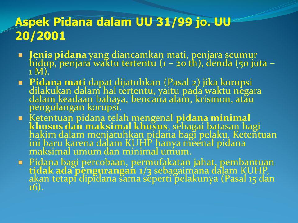 Aspek Pidana dalam UU 31/99 jo. UU 20/2001